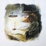 «Подводный Пушкин», бумага, акрил