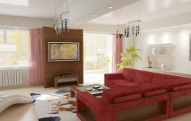 Квартира в современном минималистическом стиле.  Гостиная с красной мебелью.