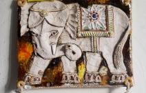 Слон. Шамот, фаянс, глина, смальта.
