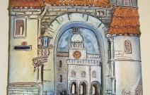 Фрагмент европейского города. Шамот, фаянс, глина, смальта.