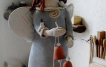 Ангел с колокольцами. Шамот, фаянс, глина, смальта.