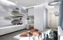 Двухуровневая квартира в городском стиле. Спальня.