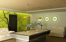 Дизайн интерьеров загородного дома. Билиардная. Ижевск